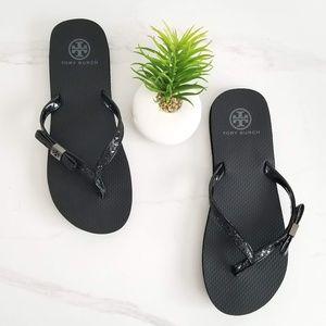 Tory Burch Black Carey Sandals Thong Flip Flops